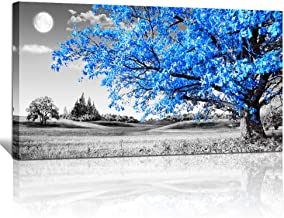wall art for living room Simple Life Blue moon tree landscape Abstract painting office Wall Decor 20