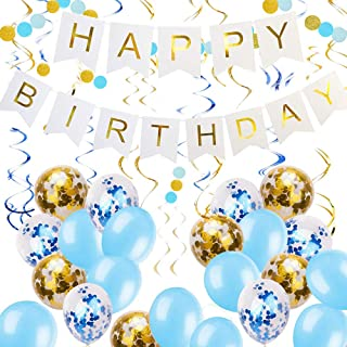 Zowella Happy Birthday Banner, Happy Birthday Banner White, Blue Balloons and Gold Confetti Balloons Hanging Swirls, Glitt...