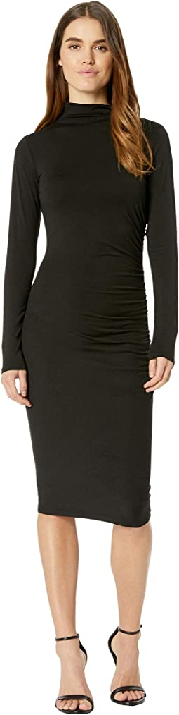 Jules Jersey Long Sleeve Mock Neck Midi Dress