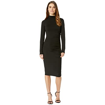 Michael Stars Jules Jersey Long Sleeve Mock Neck Midi Dress (Black) Women