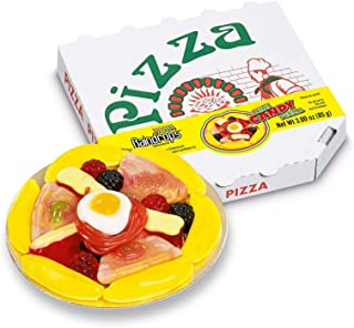 """Raindrops Gummy Candy Pizza - 4.5"""" Mini Pizza with 18 Pieces of Candy Per Box - Yummy Toppings Made from Gummy Bears, Gummy Fruits, Licorice Ropes and More - Fun and Unique Candy Gifts (1 Pizza)"""