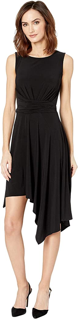 Sleeveless Solid Asymmetrical Hem Dress