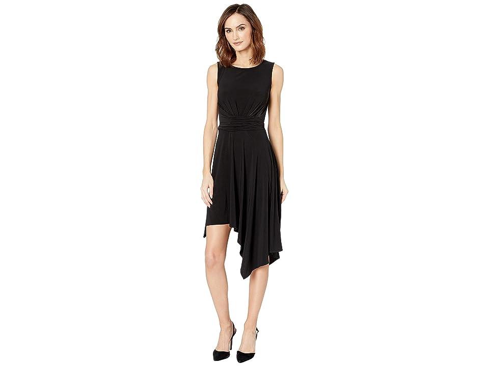 Taylor Sleeveless Solid Asymmetrical Hem Dress (Black) Women