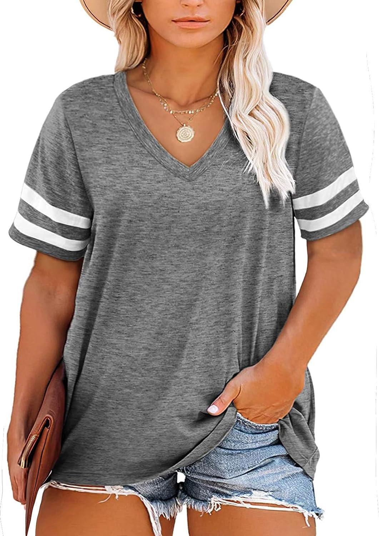 Asvivid Womens Plus Size Tops Summer Short Sleeve Crew Neck Loose Casual Tee T Shirt