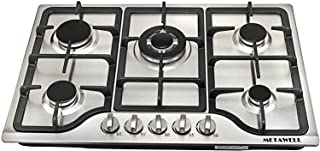 "METAWELL HS5704 30"" Stainless Steel 5-Burner Gas Cooktop with Regulator valve, Built-in LPG/NG Gas Cooktop Hob Cooker COOK TOPS,Iron Burner Kitchen Gas Cooking, 30 Inch, Silver"