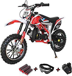 X-Pro Bolt 50cc Dirt Bike Gas Dirt Bike Kids Dirt Bikes Pit Bikes Youth Dirt Pitbike 50cc Mini Dirt Bike with Gloves, Goggle and Handgrip