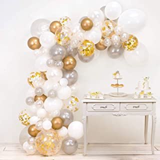 DULUX HOME Balloon Arch & Garland Kit | Pearl White, Chrome, Gold Confetti & Silver | Glue Dots | Decorating Strip |Baby S...