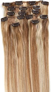 Clip in Hair Extensions, Grammy 15 Inch 7pcs Remy Clips in Human Hair Extensions 70g with Clips for Highlight (15inch, #12/613 Brown Blonde Mix Bleach Blonde)