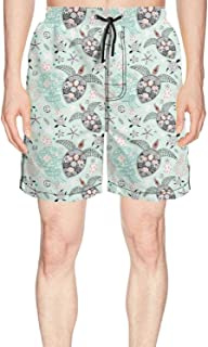 Mens Print Board Shorts Floral sea Turtle Light Green Quick Dry Comfortable Pockets Mesh Lining Beach Board Shorts