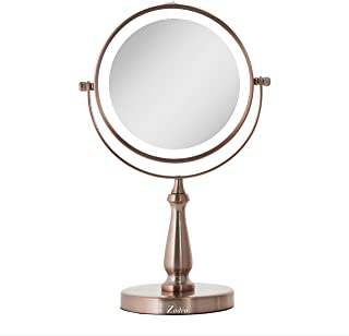 Zadro Cordless LED Light Vanity Mirror, Battery Operated, for Bedroom Bathroom Table Counter (8X/1X, Rose Gold)