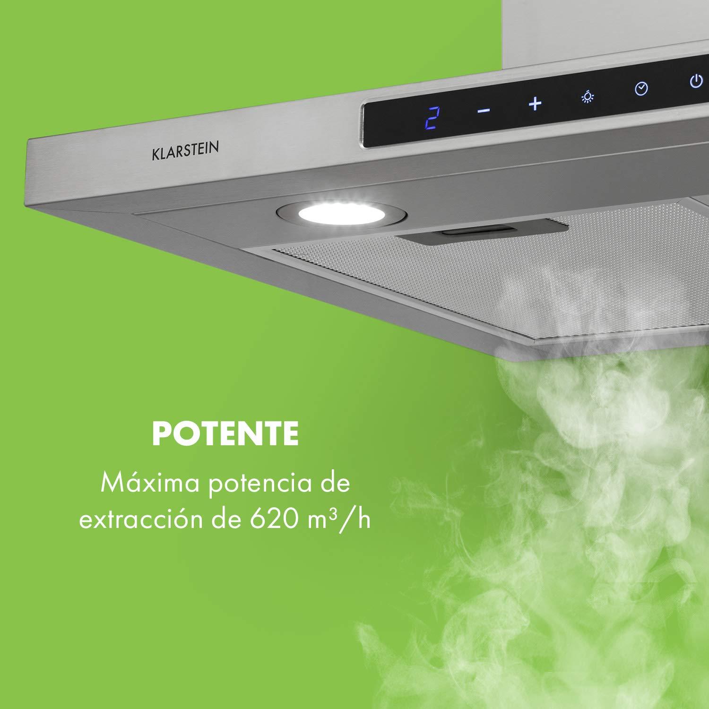 Klarstein Eliana campana extractora - 60 cm, absorción máxima de 620m³/h, control táctil, 2 filtros de grasa de aluminio, absorción y ventilación, clase B, Pirámide delgada, Acero inoxidable: Amazon.es: Hogar