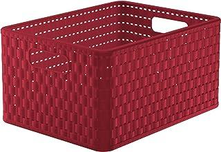 Rotho Country Boîte de Rangement 18L en Rotin, Plastique (PP) sans BPA, Rouge, A4/18L (36,8 x 27,8 x 19,1 cm)