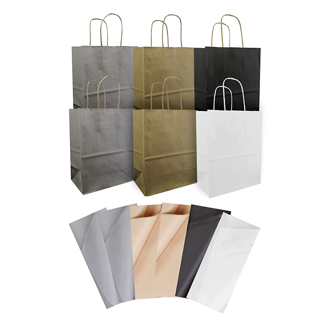Jillson Roberts All-Occasion Recycled Medium Kraft Gift Bags and Tissue in Assorted Solid Colors, 6-Count, Elegant Basics (KTMT002) zynomwj23