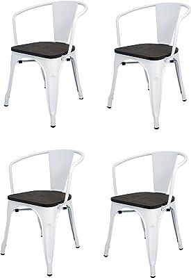 La Silla Española - Pack 4 Sillas estilo Tolix con respaldo, reposabrazos y asiento acabado en madera. Color Blanco. Medidas 73x53,5x52: Amazon.es: Hogar