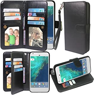 Harryshell Google Pixel XL Case, Luxury 12 Card Slots Kickstand Shockproof PU Leather Wallet Flip Protective Case Cover with Wrist Strap for Google Pixel XL (Black)