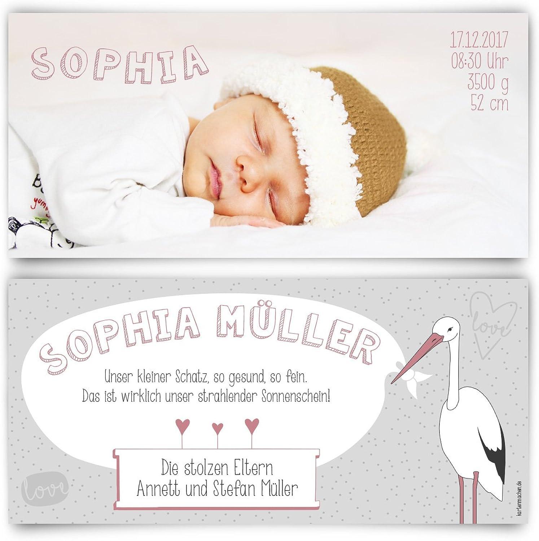 Geburtskarten (60 Stück) - Storch - Geburt Babykarten Mädchen Junge Foto Karten B01N5JKHL4 | München