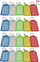 Jyccr 20 Pack Tough Plastic Key Tags with Split Ring Label Window, Assorted Colors