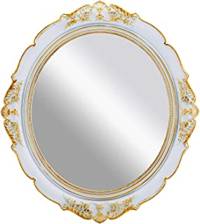 OMIRO Decorative Wall Mirror, Vintage Hanging Mirrors for Bedroom Living-room Dresser Decor, Oval Antique White 13