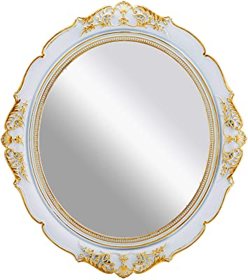 """OMIRO Decorative Wall Mirror, Vintage Hanging Mirrors for Bedroom Living-Room Dresser Decor, Oval Antique White 13"""" W x 15"""" L"""