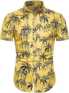 SANFASHION Summer Men Short Sleeve Shirts Hawaiian Shirt Top Printed Flower Slim Fit Casual Lightweight Breathable Comfy S...
