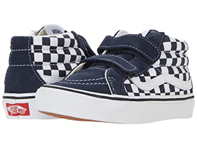 Vans Kids SK8-Mid Reissue V (Little Kid) ((Checkerboard) India Ink/True White) Boys Shoes