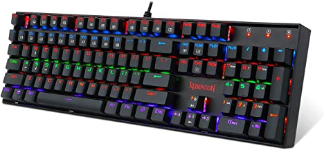 Redragon K551-R Mechanical Gaming Keyboard with Cherry MX Blue Switches Vara 104 Keys Numpad Tactile USB Wired Computer Keyboard Steel Construction for Windows PC Games (Black Rainbow LED Backlit)