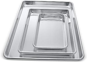 Crown 3-piece Baking Sheet, 6x10, 9x13, 13x18 inch, Commercial Baking Sheet, Extra Sturdy, Pure Food-Grade Aluminum, Half Sheet Pan, Quarter Sheet Pan, Toaster Oven Pan, Cookie Sheets for Baking, Sheet Pan Set