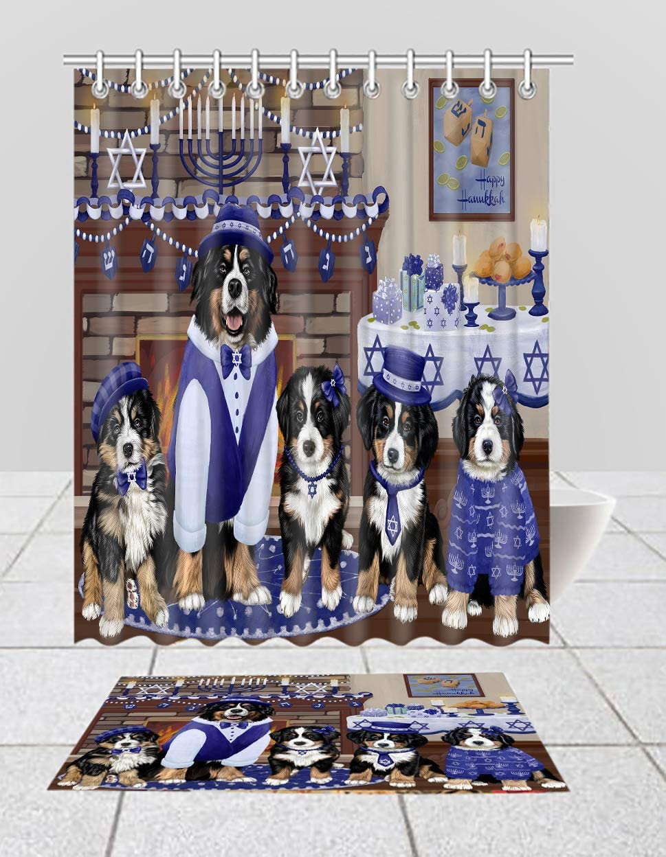 Don't miss the campaign Happy Hanukkah Family Bernese Mountain Shower Curtain Bat Ranking TOP5 Dogs