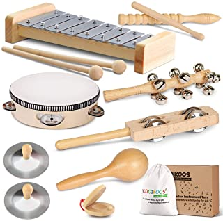 LOOIKOOS Toddler Musical Instruments, Eco Friendly Musical Set for Kids Preschool Educational, Natural Wooden Percussion Instruments Musical Toys for Boys and Girls with Storage Bag