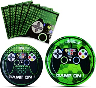 WERNNSAI Game Party Supplies Kit - Video Game Themed Party Packs for Boys Kids Birthday Baby Shower Game Lovers Dinner Dessert Plates Napkins Serves 16 Guests 48 Pieces