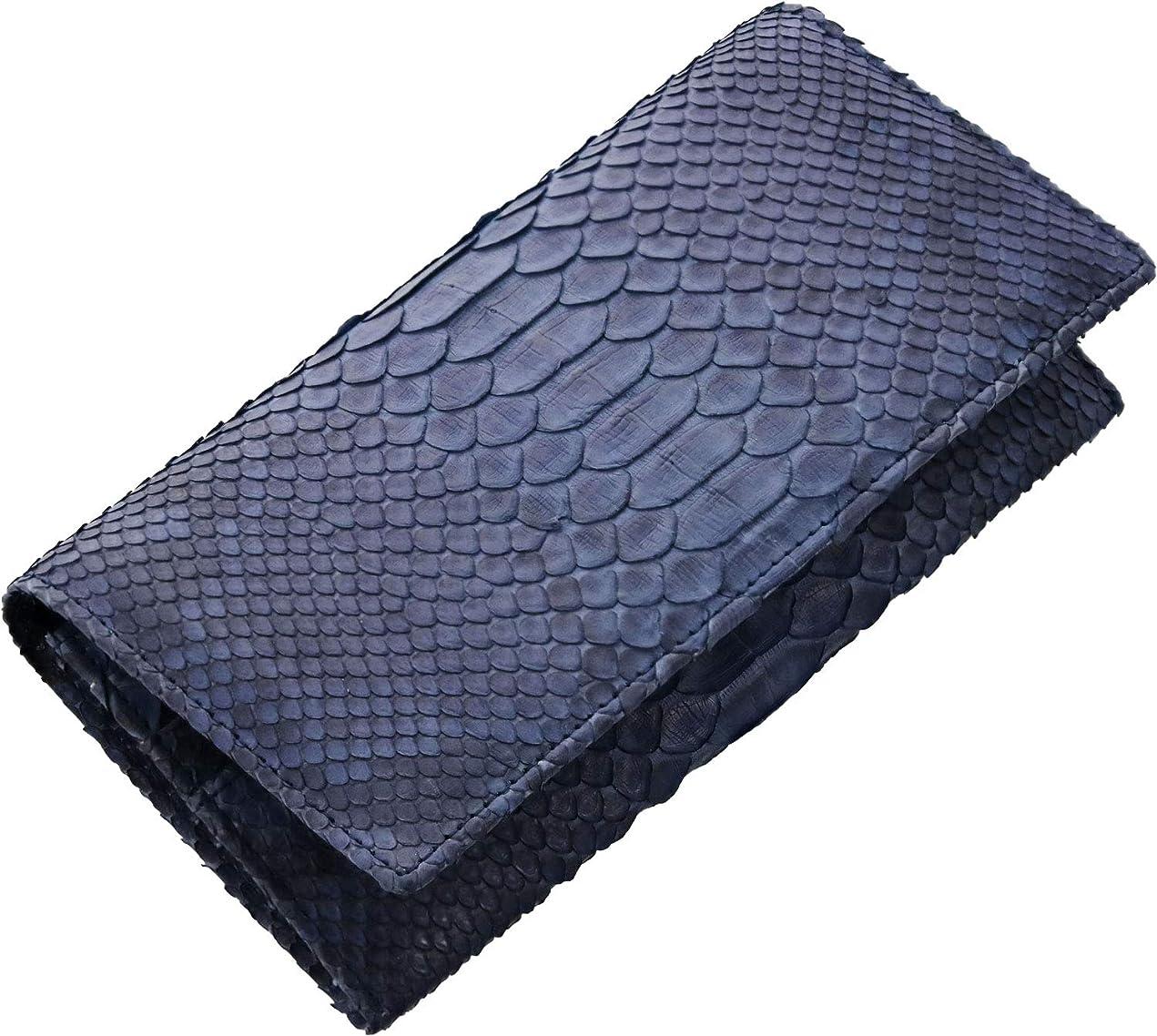 公使館前につなぐヘビ ダイヤモンド パイソン レザー メンズ フラップ かぶせ 長財布 折りたたみ 蛇革