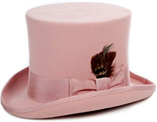 Ferrecci Satin Lined Wool Top Hat with Grosgrain Ribbon and Removable Feather - Unisex, Men, Women