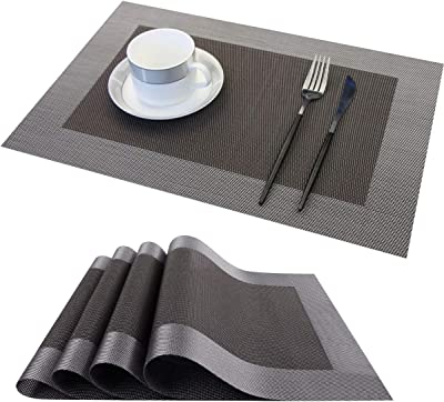 Table Mats PVC Placemats for Kitchen Table Mats Washable Set of 4 Dining Room-ZJ