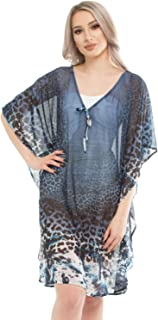3751040b8a Seaspray SY008201 Women's Blue Leopard Print Beach Dress Cover Up Kaftan