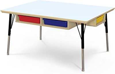 """Jonti-Craft Table with Storage and Colored Paper-Trays, 15""""-24"""" Height"""