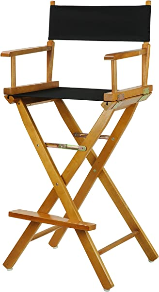 Casual Home 30 Director S Chair Honey Oak Frame With Black Canvas Bar Height