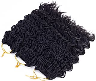 14'Wavy Senegalese Twist Free Ends Synthetic Braiding Hair Extensions 35 Roots/Pack 85g Kanekalon Ombre Jumbo Crochet Braids Pre-looped Hair (5 pcs 14 inch, #1b)