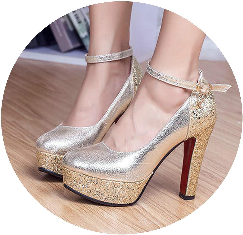 gold Silver Block High Heels Women Platform Pumps Party Wedding Bride Ladies shoes Sequin Heels