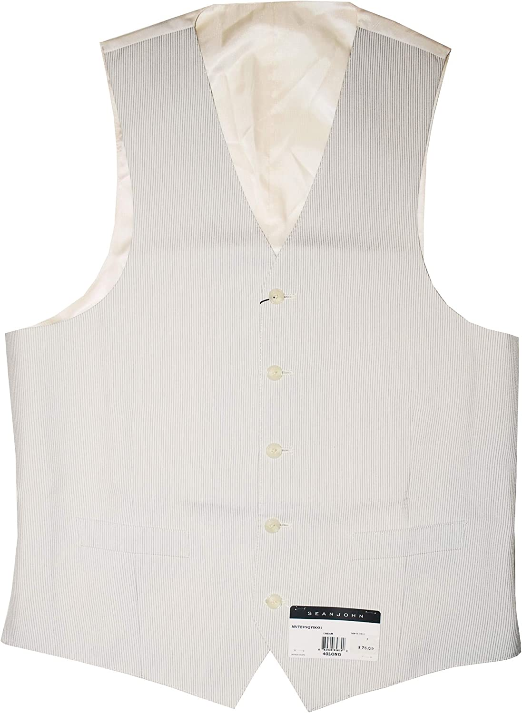 Sean John Men's Tonal Stripe Five Button Suit Vest (Cream, 40L)