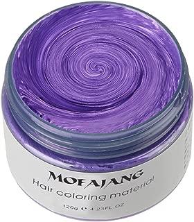 MOFAJANG Hair Color Wax, KooJoee Temporary Hair Dye Easy Wash Hairstyle Cream 4.23 oz Disposable Hair Pomades, Natural Matte Hair Modeling Wax for Party Cosplay Nightclub Masquerades Halloween(Purple)