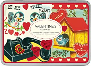 Cavallini & Co. Valentine's Mailing Set [with 24 Glittered Cards and 24 Envelopes and 3 Rubber Stamps and Red Stamp Pad]