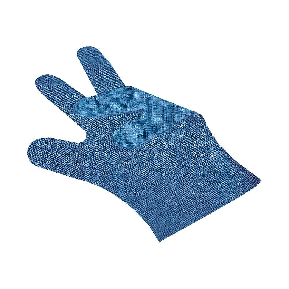 パニック呪われたアナロジーサクラメンエンボス手袋 デラックス ブルー M 100枚入