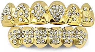 18K Gold Plated Iced Out Hip Hop Joker Poker Diamond Top & Bottom Teeth Caps Grillz Set