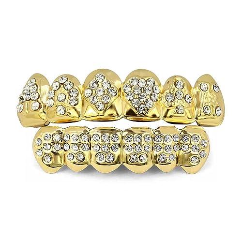 47d7dcfc23a TOPGRILLZ 18K Gold Plated Iced Out Hip Hop Poker Diamond Top   Bottom Teeth  Caps Grillz
