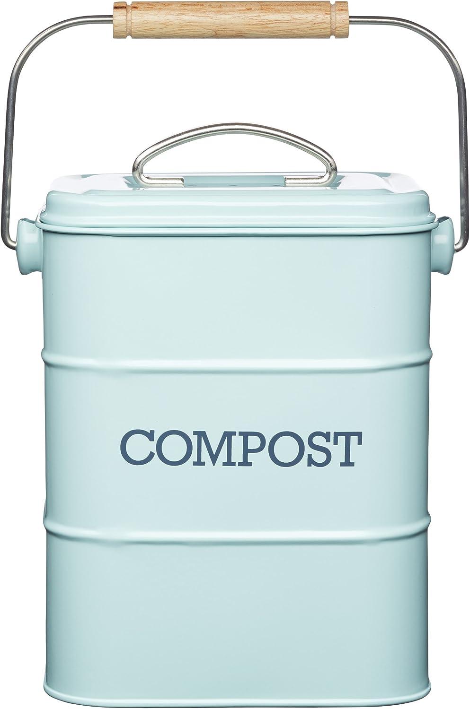 Amazon Com Kitchen Craft Living Nostalgia Vintage Blue Compost Bin Lncompblu Home Kitchen