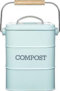 Kitchen Craft Living Nostalgia 3 Liter Stainless Steel Compost bin, Blue (Duck Egg Blue)