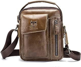 Chest Bag Men Genuine Leather Chest Bag, BULLCAPTAIN Crossbody Shoulder Bag Sling Bags Backpack Messenger Bag Daypack For Business Casual Sport Hiking Travel Brown