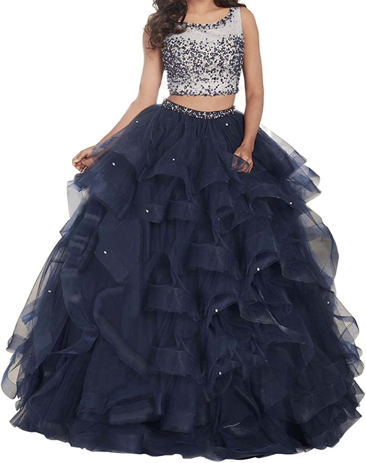 TuanYuan Women 2 Pieces Full Beaded Evening Party Gowns Quinceanera Dresses