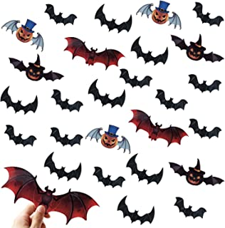 Halloween Bat Decorations Party Supplies - 120 PCS 3D Pumpkin Bats Wall Decals, Waterproof Spooky Bats Craft Window Sticke...