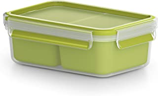 TEFAL MasterSeal To Go Snack Box 0.55 Litre Food Container with 2 Inserts, Green, Plastic, K3100612